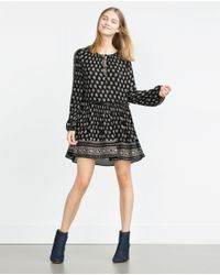 Zara | Black Printed Dress | Lyst