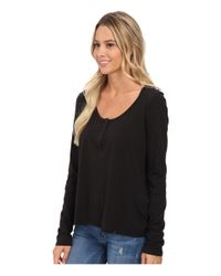 Volcom - Black Lived In Overdyed Henley - Lyst