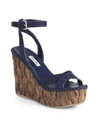 Miu Miu | Blue Suede Wooden Wedge Sandals | Lyst