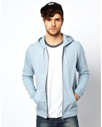 ASOS | Blue Zip Through Hoodie for Men | Lyst
