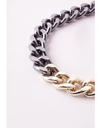 Missguided | Gray Two Tone Chain Necklace | Lyst
