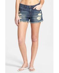 Volcom - Blue 'stoned' Distressed Denim Shorts - Lyst