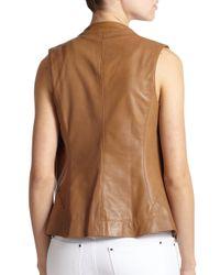 Callens - Brown Leather Biker Vest - Lyst
