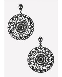 Bebe | Black Filigree Circle Earrings | Lyst