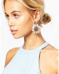 ASOS | Metallic Crystal Occasion Statement Earrings | Lyst
