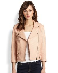 Rebecca Minkoff - Brown West Perforated Leather Moto Jacket - Lyst