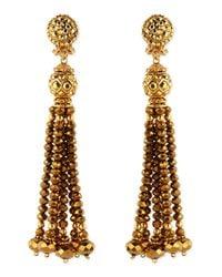 Jose & Maria Barrera | Metallic Golden Crystal Tassel Clip-on Earrings | Lyst