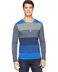 Calvin Klein Jeans | Blue Colorblock Striped Henley for Men | Lyst