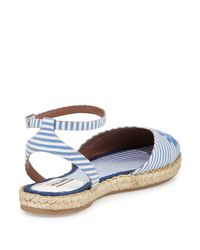Tabitha Simmons - Blue Dotty Striped-Cotton Espadrilles  - Lyst