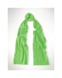 Polo Ralph Lauren - Green Cable-knit Cashmere Scarf - Lyst