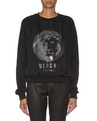 Versus - Black Logo-printed Jersey Sweatshirt - Lyst