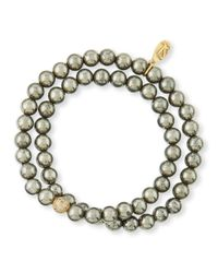 Sheryl Lowe - Yellow Pyrite & Pave Diamond Double-Wrap Bracelet - Lyst