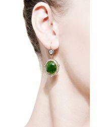 Sylva & Cie - Green Agate, Emerald And Diamond Drop Earrings - Lyst