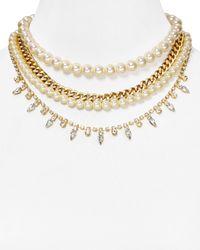 "Aqua - White Cece Four-row Imitation-pearl Necklace, 15"" - Lyst"