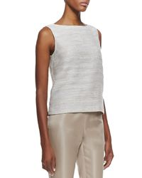 Lafayette 148 New York - Natural Maddie Woven Sleeveless Top - Lyst