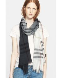 Burberry - Gray Ombre Check Wool & Silk Scarf - Lyst