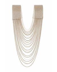TOPSHOP - Metallic Drape Pearl Body Chain - Lyst