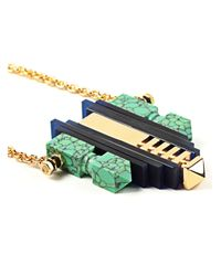 Lily Kamper - Blue Turquoise Resin, Gold And Perspex Lunar Necklace - Lyst