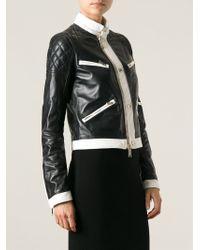 DSquared² - Black Monochrome Biker Jacket - Lyst