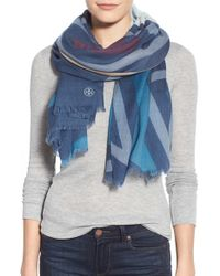 Tory Burch - Purple 'exploded Fret' Wool Scarf - Lyst