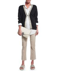 Brunello Cucinelli - Natural Cropped Suede Flared Pants - Lyst