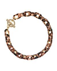 Michael Kors - Pink Tortoise Link Pave Toggle Necklace - Lyst