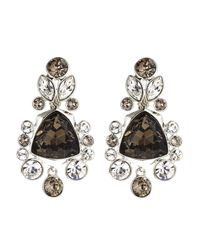 Givenchy | Black Silver-Tone & Champagne Drop Earrings | Lyst