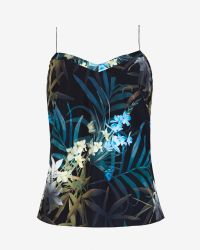 Ted Baker | Black Cynaria Printed Scallop Edge Camisole | Lyst