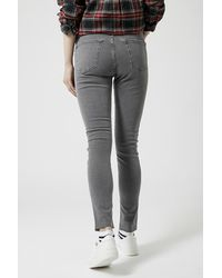 TOPSHOP - Gray Tall Moto Grey Ripped Jamie Jeans - Lyst