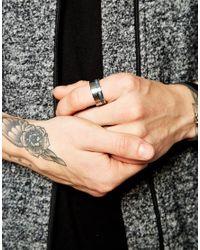 Emporio Armani - Metallic Logo Ring for Men - Lyst