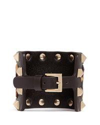 Valentino - Multicolor 'Rockstud' Leopard Print Calf Hair Wide Leather Bracelet - Lyst