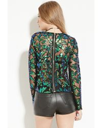 Forever 21 - Multicolor Endless Rose Sequin-embroidered Mesh Top - Lyst
