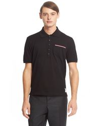 Thom Browne | Black Cotton Pique Polo for Men | Lyst