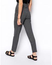 ASOS - Black Peg Pants in Mono Tile Print - Lyst
