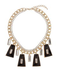 Mikey | Metallic Enamel/crystal Hanging Linked Necklace | Lyst
