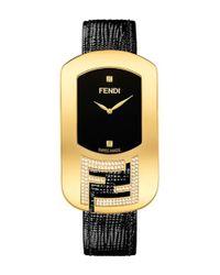 Fendi - Metallic 'chameleon' Leather Strap Watch - Lyst