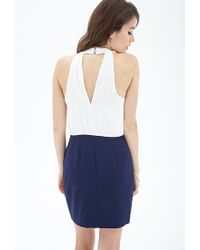 Forever 21 - Blue Contemporary Colorblocked Surplice Halter Dress - Lyst
