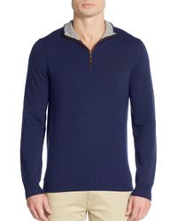 Saks Fifth Avenue | Blue Cashmere Zip-front Sweater for Men | Lyst