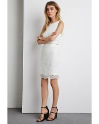 Forever 21 - White Lace Overlay Pencil Skirt - Lyst