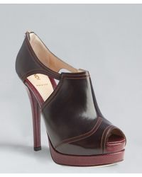 Fendi - Brown Wine and Bordeaux Peep Toe Booties - Lyst