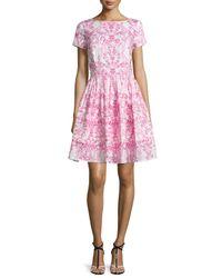 Oscar de la Renta - Multicolor Ikat-print Sleeveless Fit-and-flare Dress - Lyst