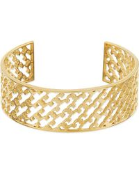 Tory Burch | Metallic Perforated Logo Cuff Bracelet - For Women | Lyst