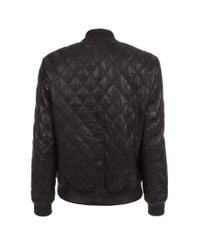 Paul Smith - Black Quilted Leather Bomber Jacket - Lyst