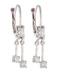Roberto Coin | Metallic White Gold Diamond Drop Earrings | Lyst