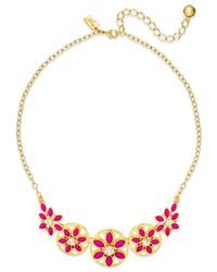 kate spade new york - Pink Gold-tone White Epoxy Bead Floral Necklace - Lyst