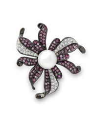 Kenneth Jay Lane | Multicolor Multi Pink Flower Brooch | Lyst