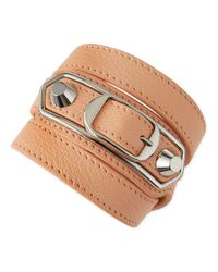 Balenciaga - Pink Leather Wrap Bracelet for Men - Lyst