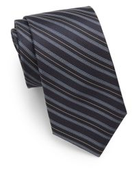 Saks Fifth Avenue | Black Striped Silk Tie for Men | Lyst