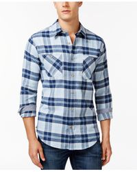 Weatherproof | Blue Vintage Long-sleeve Plaid Brushed Flannel Shirt for Men | Lyst
