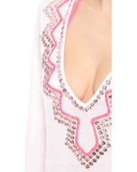 MILLY - Orange Mirroed Paillettes Cover Up - Lyst